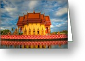 Wat Digital Art Greeting Cards - Buddha Temple  Greeting Card by Adrian Evans