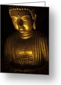 Buddhist Temple Greeting Cards - Buddha Greeting Card by Zoe Ferrie