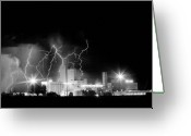 Unusual Lightning Greeting Cards - Budweiser Lightning Thunderstorm Moving Out BW Greeting Card by James Bo Insogna
