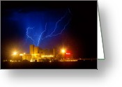Unusual Lightning Greeting Cards - Budweiser Powered by Lightning Greeting Card by James Bo Insogna