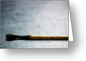 Stainless Steel Greeting Cards - Burned Match On Stainless Steel. Greeting Card by Ballyscanlon