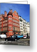Old Street Greeting Cards - Busy street corner in London Greeting Card by Elena Elisseeva