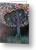 Color Painting Greeting Cards - Button tree 0006 Greeting Card by Monica Furlow