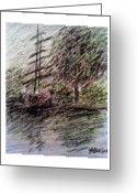 Signed Pastels Greeting Cards - By the Lake Greeting Card by Aida Behani