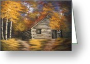 Log Cabins Painting Greeting Cards - Cabin in the Woods Greeting Card by Ruth Bares