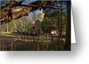 Rail Fence Greeting Cards - Cades Cove Cabin  Greeting Card by Douglas Barnett