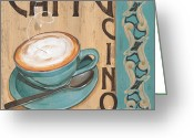 Mocha Greeting Cards - Cafe Nouveau 1 Greeting Card by Debbie DeWitt