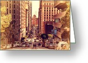Old Postcards Greeting Cards - California Street in San Francisco Greeting Card by Wingsdomain Art and Photography