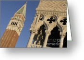 Italia Greeting Cards - Campanile. Plazza san Marco. Venice Greeting Card by Bernard Jaubert