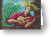 Puerto Rico Drawings Greeting Cards - Cancion para mi tierra Greeting Card by Oscar Ortiz