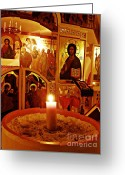 Christ Greeting Cards - Candle and Icons Greeting Card by Sarah Loft