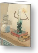 Evening Drawings Greeting Cards - Candle Greeting Card by Kestutis Kasparavicius
