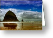 Lanscape Photo Greeting Cards - Cannon Beach at Dusk Greeting Card by David Patterson