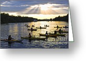 Scenic Greeting Cards - Canoeing Greeting Card by Elena Elisseeva