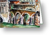 Canterbury Tales Greeting Cards - Canterbury England Cloisters Greeting Card by Mindy Newman