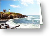 "York Maine Greeting Cards - Cape Neddick ""nubble"" Lighthouse Greeting Card by Thomas Northcut"