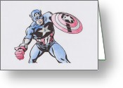 Psylocke Greeting Cards - Captain America Greeting Card by Toni Jaso