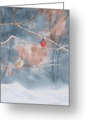 Bare Trees Greeting Cards - Cardinals In Winter Greeting Card by Kathryn Duncan