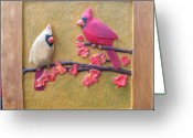 Design Reliefs Greeting Cards - Cardinals on Cherry Wood Greeting Card by Michael Pasko