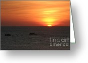 Nature Landscape Pyrography Greeting Cards - Caribbean Sunset Greeting Card by Torsten Dietrich