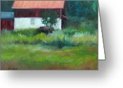Carversville Greeting Cards - Carversville Barn Greeting Card by Kit Dalton