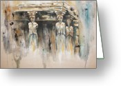 Greek Sculpture Painting Greeting Cards - Caryatids Greeting Card by Erika Proctor