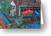 Umbrellas Greeting Cards - Casa Rio Greeting Card by Patti Schermerhorn