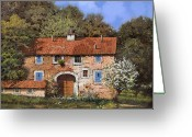 Roof Greeting Cards - Casolare A Primavera Greeting Card by Guido Borelli