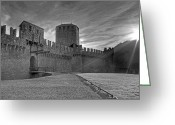 Back Light Greeting Cards - Castle Greeting Card by Joana Kruse