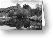 Butte Creek Greeting Cards - Cathedral Rock Reflections Landscape Greeting Card by Darcy Michaelchuk