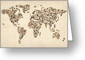 Vintage Map Digital Art Greeting Cards - Cats Map of the World Map Greeting Card by Michael Tompsett