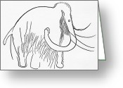 Mammoth. Greeting Cards - Cave Painting Of A Mammoth, Artwork Greeting Card by Sheila Terry