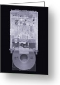 Cd Greeting Cards - Cd Drive, Simulated X-ray Greeting Card by Mark Sykes