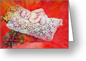 Retratos Greeting Cards - Celestial Grace Greeting Card by Estela Robles