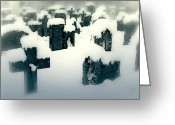 Ghosts Greeting Cards - Cemetery Greeting Card by Joana Kruse