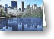Blue Blocks Greeting Cards - Central Park in New York City Greeting Card by Svetlana Sewell