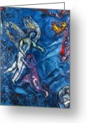 Old Testament Greeting Cards - Chagall - Jacob Wrestling Greeting Card by Granger
