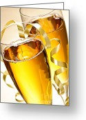 Sparkling Greeting Cards - Champagne glasses Greeting Card by Elena Elisseeva