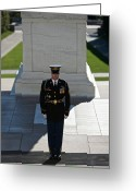 Sentinel Greeting Cards - Changing Of Guard At Arlington National Greeting Card by Terry Moore