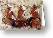 Gold Mixed Media Greeting Cards - Charros Greeting Card by Juan Jose Espinoza