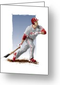 Citizens Bank Park  Greeting Cards - Chase Utley Greeting Card by Scott Weigner