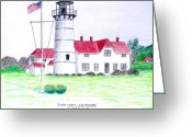 Historic Lighthouse Drawings Greeting Cards - Chatham Lighthouse  Greeting Card by Frederic Kohli