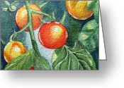 Batik Greeting Cards - Cherry Tomatoes Greeting Card by Irina Sztukowski