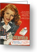 Hayworth Greeting Cards - Chesterfield Cigarette Ad Greeting Card by Granger