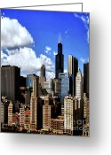 Tall Buildings Greeting Cards - Chicago Buildings Greeting Card by Julie Palencia