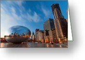 Chicago Skyline Greeting Cards - Chicago Skyline and bean at sunrise Greeting Card by Sven Brogren