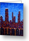 Chicago Artist Greeting Cards - Chicago Skyline at Night from North Avenue Pier - vertical Greeting Card by J Loren Reedy