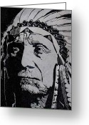 Chief Glass Art Greeting Cards - Chief Red Cloud Greeting Card by Jim Ross