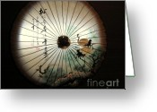 Longevity Greeting Cards - Chinese Oilpaper Umbrella Greeting Card by Yali Shi