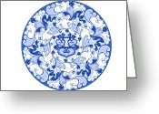 Classical Style Greeting Cards - Chinese Traditional Blue And White Porcelain Style Pattern Greeting Card by BJI/Blue Jean Images
